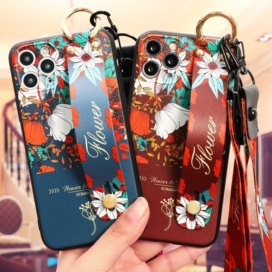 Cartoon TPU Wrist Strap Holder Stand Case For iPhone 11 Pro XS Max XR For iPhone 5 5S SE 2 2020 X 6 6S 7 8 Plus Case Coque Cover