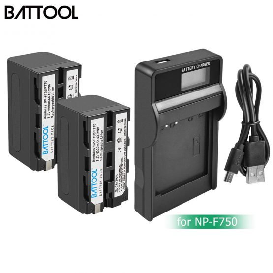 BATTOOL 6000mAh NP-F770 NP-F750 NP F770 np f750 NPF770 750 Batteries+LCD Charger For Sony NP-F550 NP-F770 NP-F750 F960 F970