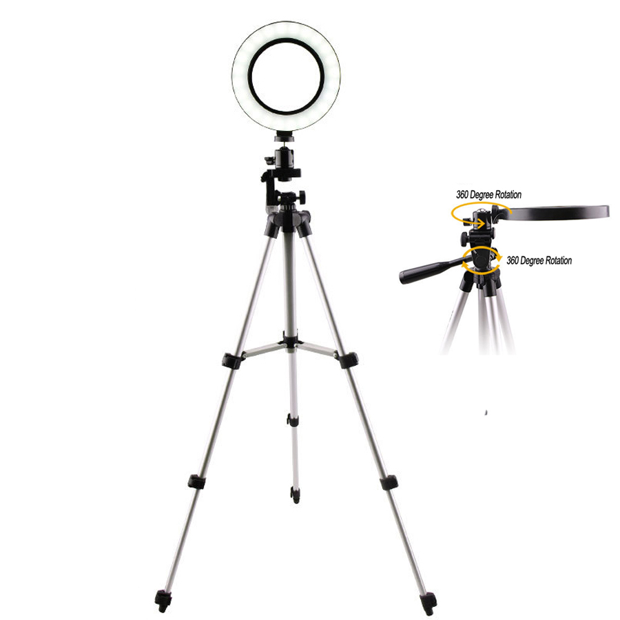 LED Selfie Ring Lamp Adjustable Tripod With 16/20/26CM Ring Light For Makeup Youtube TikTok Photography Camera Photo Stand NE002