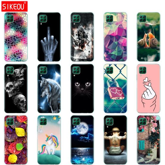 For Huawei P40 Lite Case Soft Transparent TPU Silicon Phone Cover For Huawei P40 Lite E P40Lite Bumper Coque Cat Tiger Fower