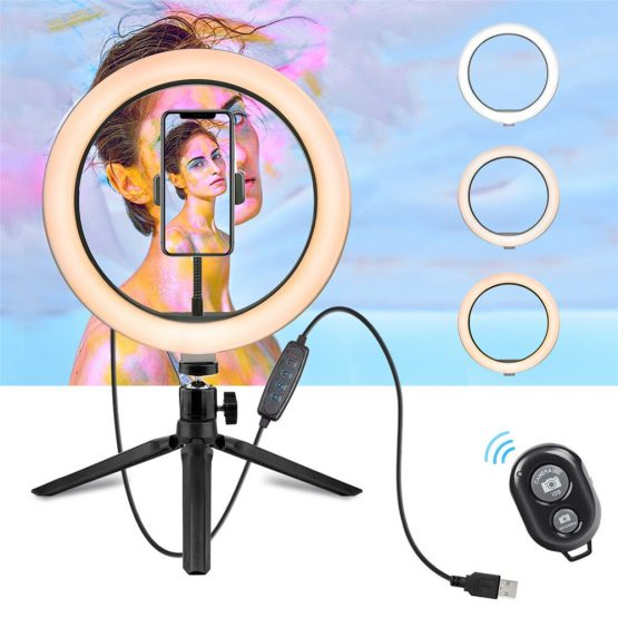 10 Inch LED Ring Light Dimmable Desktop Selfie Light Tripod Stand for Tiktok YouTube Video Living Stream Photography Accessories