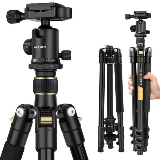 "K&F CONCEPT TM2324 62""Portable Professional DSLR Camera Tripod+360 Degree Ball Head+ 8KG Load Capacity+ 1/4"" Quick Release Plate"