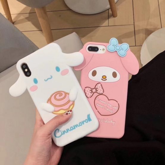 3D Japanese cute cartoon My Melody Cinnamoroll silicone phone case for iphone SE 2020 7 8 plus X XR XS MAX 11 Pro Max Case Cover