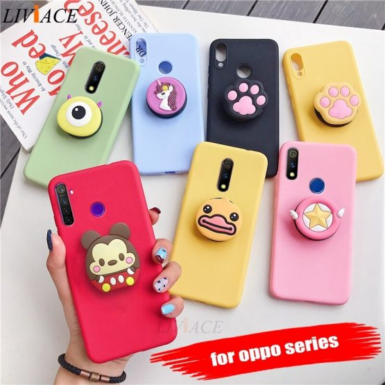 3D cartoon phone holder case for oppo realme xt x2 pro x lite q 3 5 pro c2 c1 soft silicone cute animal stand back cover