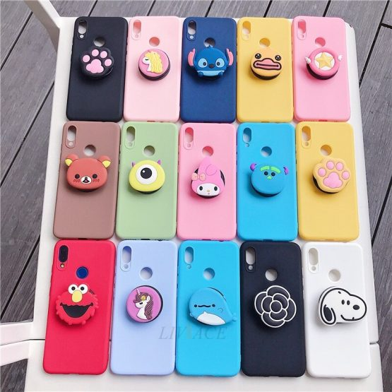 3D silicone cartoon phone holder case for huawei nova 3i 3 5t 5 pro 5i 4 4e 3e 2i 2s 2 plus girl cute stand soft cover coque