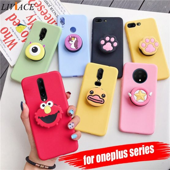 3D silicone cartoon phone holder case for one plus