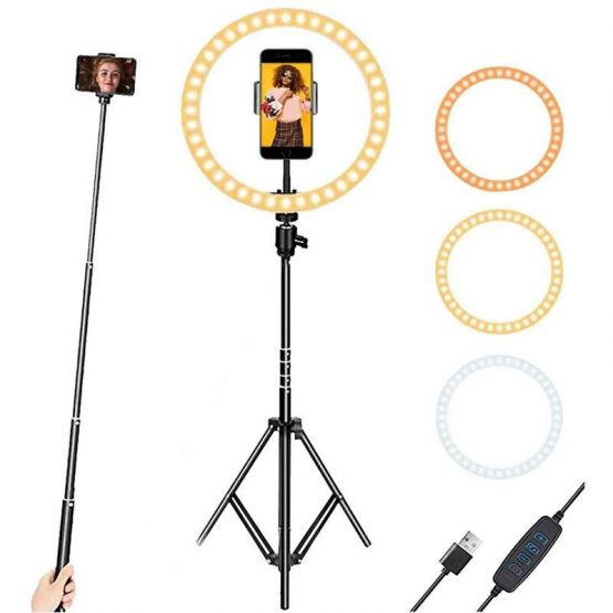 33cm Dimmable LED Selfie Ring Light With 160 cm Stand Tripod Photography Ring Lamp For Live Makeup TikTok & YouTube VideoLight