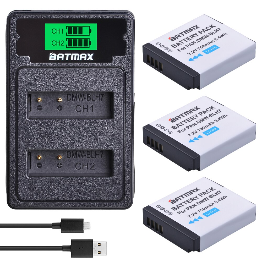 DMW-BLH7 BLH7E DMW-BLH7PP Battery+LCD USB Dual Charger for Panasonic Lumix DMC-GM5,DMC-GF7,DMC-GF8, GF9, LX10, LX15