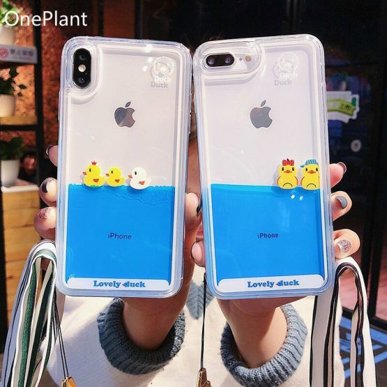 Cartoon Phone Case For iPhone 11 Pro Max X XR XS MAX 3D Swimming Duck Dynamic Liquid Quicksand For iPhone 5s 6 6s 7 8 Plus Cover
