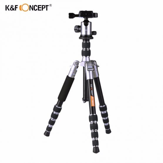 K&F CONCEPT Lightweight Camera Tripod of Flexible Aluminum with 2-section Center Column+5-Section Adjustable-height for DSLR