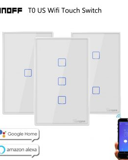 Sonoff WiFi Smart Switch T0 US EU 1 2 3 Gang Wall Touch Panel Wireless Remote lamp Smart Home Controller by Alexa Google Home