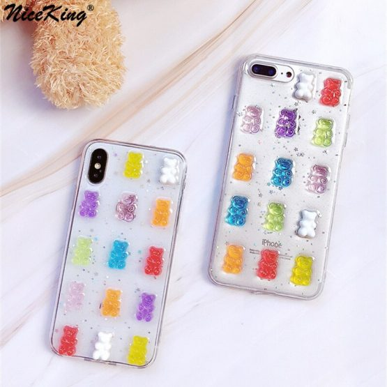 Niceking Phone Case For iPhone 11 Pro Max X XS Max XR X 6 6S 7 8 Plus Case Cute 3D Candy Color Bear Epoxy Glitter Soft TPU Cover