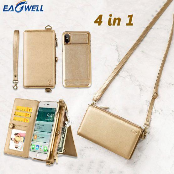 4 in 1 Leather Wallet Bag Case for iPhone 11 Pro XR XS Max X 6 7 8 Plus Detachable Phone Cover Girl Women Shoulder Bag Handbag