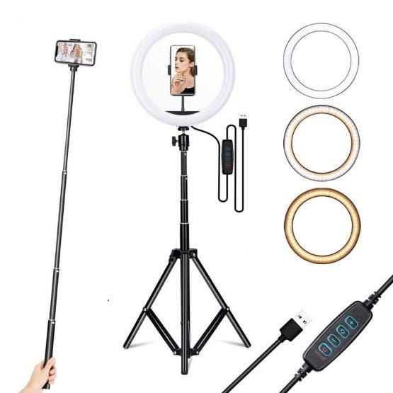 YTOM 12 inch ring light with 160cm Extendable Tripod Stand & Flexible Phone Holder for Live Stream/Makeup YouTube Video tiktok