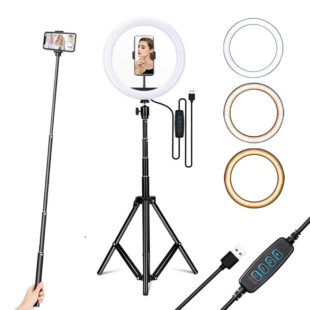 YTOM 12 inch ring light with 160cm Extendable Tripod Stand & Flexible Phone Holder for Live Stream/Makeup YouTube Video tiktok
