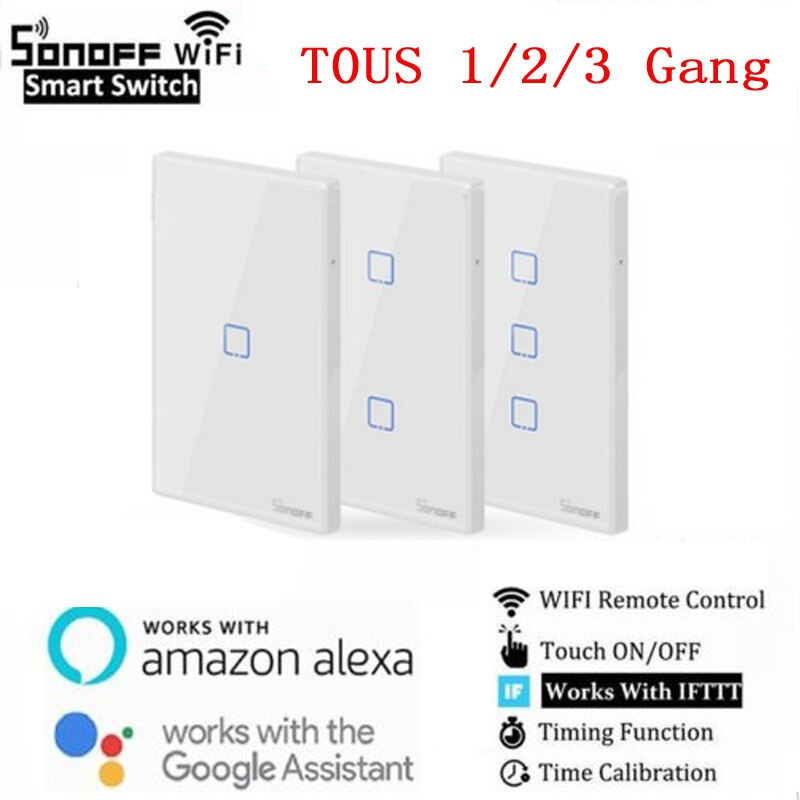 SONOFF T0 TX EU/US Smart WiFi Smart Switches with 1/2/3 Gang Wireless Wifi Switch for Alexa Google Home Smart Home Smart Home