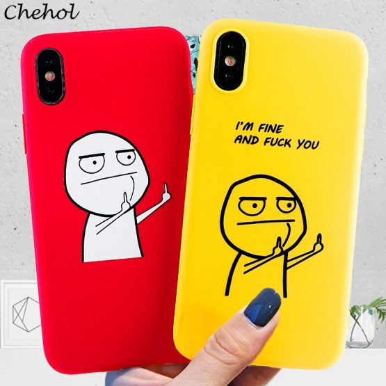 Funny Cartoon Phone Cases for iPhone SE 11 Pro 8 7 6s Plus X XS MAX XR Case Silicone TPU Fitted Box Back Covers Accessories