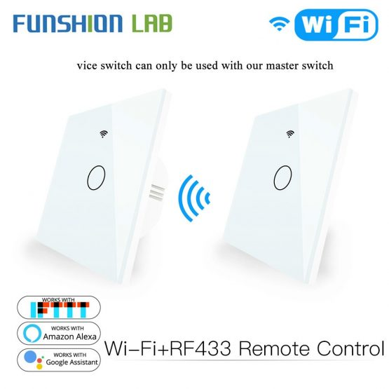 Touch Switch RF433 Transmitter Wall Panel 1/2/3 Gang Remote Control