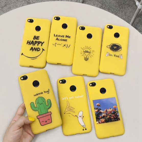 Phone Case for xiaomi redmi S2 4X 4A redmi 5 PLUS 5A 6 6A 7 7A NOTE 8 Case Cover Yellow Funny Banana Cute Cartoon Cases Coque