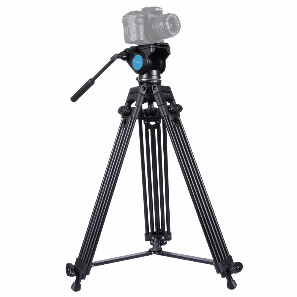 Aluminum Alloy Professional Heavy Duty Tripod with Panoramic Fluid Head Accessories Stands for Canon Nikon DSLR Video Cameras