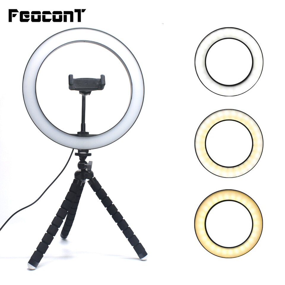 Ring Lamp 10.2in Studio Ring Light LED Photography Photo Camera Lights with Large Octopus Tripod for Tiktok Youtube Makeup Live