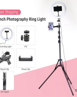10inch Dimmable LED Selfie Ring Light With 0.5m/1.6m/1.9m/2m Tripod Stand Photographic Lighting Phone Clip For Youtube Tiktok VK