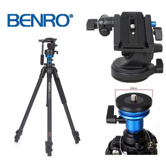Cost-effective BENRO A1573FS2 Professional Aluminum Tripod For Video Camera 3D Fluid Head Videotape Dual-use