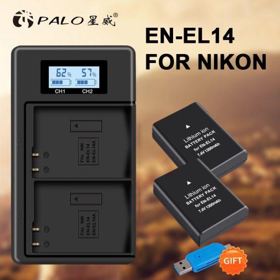 2PCS EN-EL14A EN-EL14 ENEL14 camera battery+LCD USB Dual Charger for Nikon D3100 D3200 D3300 D3400 D3500 D5600 D5100 D5200 P7000