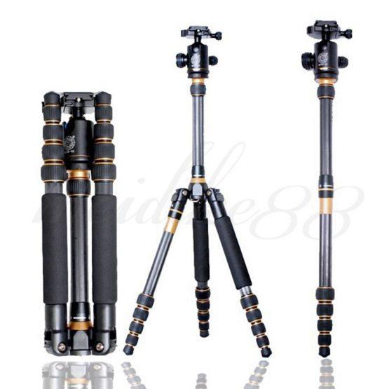 Q777C Carbon Fiber Portable Pro Photography Traveling Extension Tripod Monopod + Ball Head for DSLR Camera universal tripod