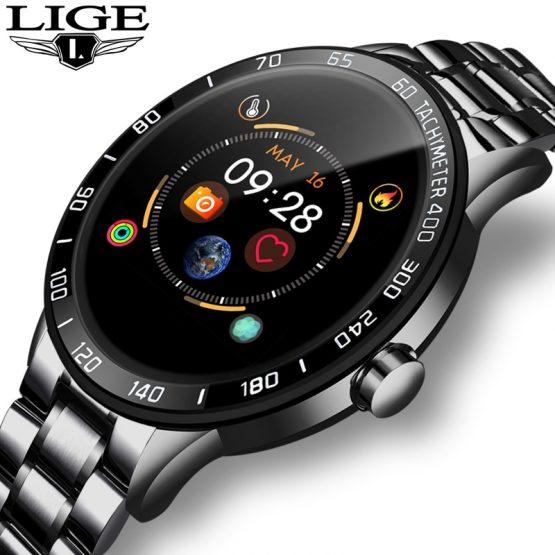 LIGE 2019 New steel smart watch men leather smart watch sport For iPhone Heart rate blood pressure Fitness tracker smartwatch