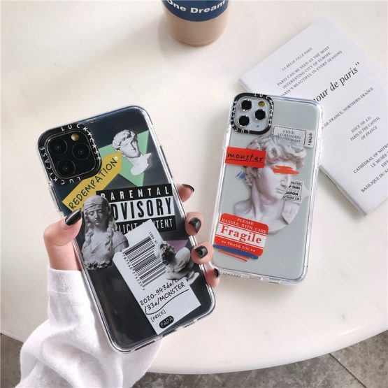 Luxury Art Letter Label Phone Case For iphone 11 Pro Max 7 8 plus Back Cover For iphone X XR XS SE 2020 Transparent Soft Cases