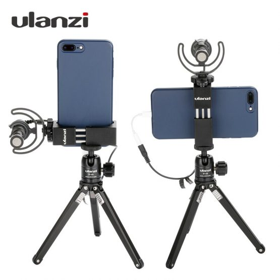 Ulanzi ST-2S Cold Shoe Phone Vlog Tripod Mount Adapter for iPhone 11 Pro Max X Xs Samsung Huawei Samrtphone Vlog Mount Kit Rig