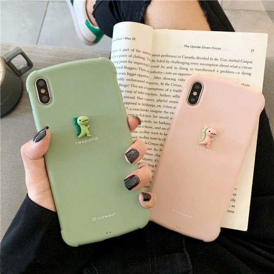 Matte phone Case For iphone 11 11Pro Max XS Max X XR 3D Baby dinosaur case for iphone 7 8 plus cartoon phone cover