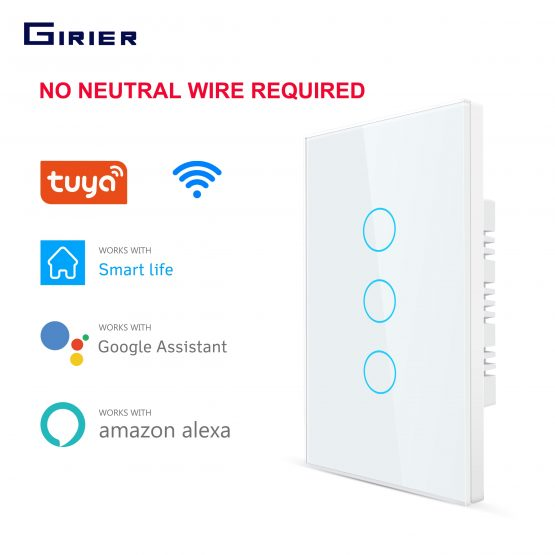 Smart Wifi Touch Switch No Neutral Wire Required Smart Home 1/2/3 Gang Light Switch 220V Support Alexa Tuya App 433RF Remote