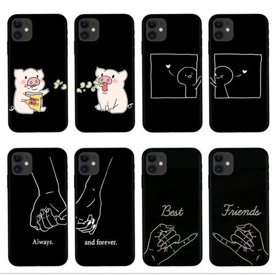 Always And Forever Best Friends Cartoon BFF Phone Case For iPhone 11 Pro XS Max XR X 8 7 6 6S Plus 5S SE Soft Silicone Cover
