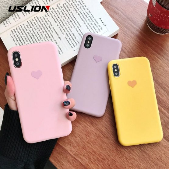 USLION Candy Color Case for iPhone 11 Pro XR X Xs Max Love Heart Phone Cover for iPhone 6 6S 7 8 Plus 11 Pro Max Soft TPU Cases