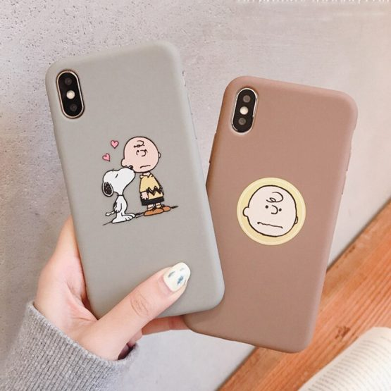 PEANUTS Cartoon Charlie Brown and dog Soft Phone Case For Iphone11 11pro 6 6S 7 8 Plus X Xs Xr Max matte candy case capas funda