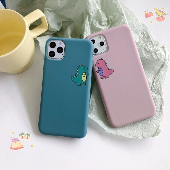 Cartoon Dinosaur Phone Case For Etui iPhone 11 Pro X XS MAX XR 8 7 6 Plus Cute Couple Dragon Soft Back Cover Candy Color Capa