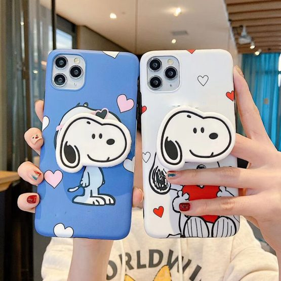 Cartoon Dog love heart phone case For iphone 11 11pro Max X XR XS MAX soft silicone Folding stand cover For iphone 7 8 6 S Plus
