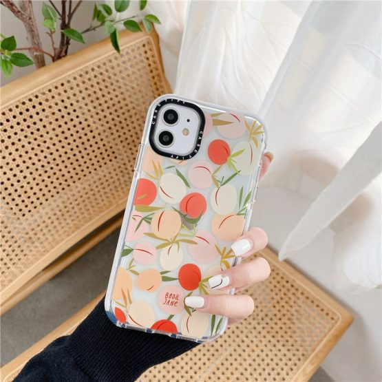 Cartoon Honey Peach Soft Phone Case for iPhone 11 Pro Max XR XS Max X 6 s 7 8 Plus Cover Cute Transparent Thick Border Cases