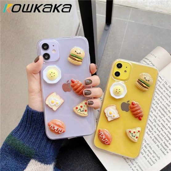 Kowkaka Clear Glitter 3D Foods Phone Case For iPhone 11 Pro Max 6 6s 78 Plus X XR XS Max Shiny Simple Soft TPU Back Cover Couple
