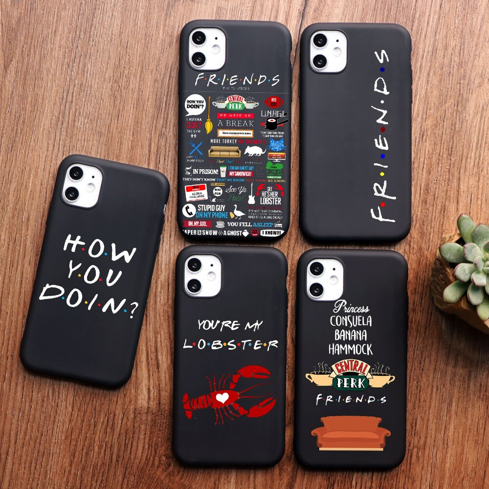 PUNQZY Cartoon funny Clip Art Friends TV Show Phone case For iPhone 11 pro MAX 6 8 7 Plus 5 5s X XS MAX TPU for iphone XR case
