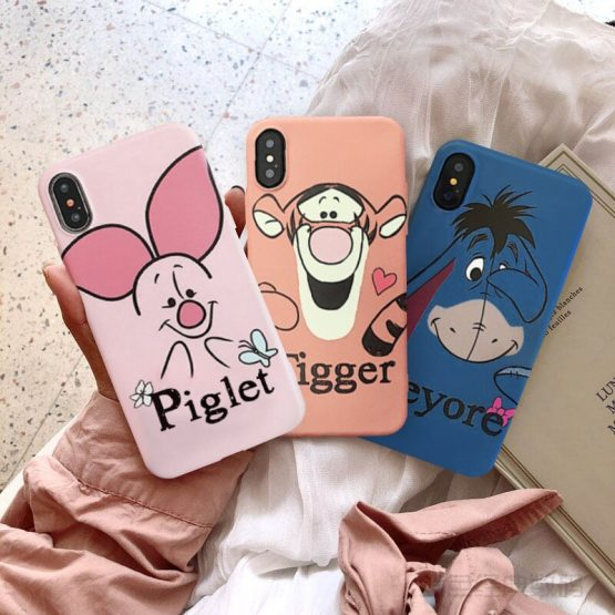JAMULAR Cute Piglet Tigger Eeyore Fitted Case For iPhone X