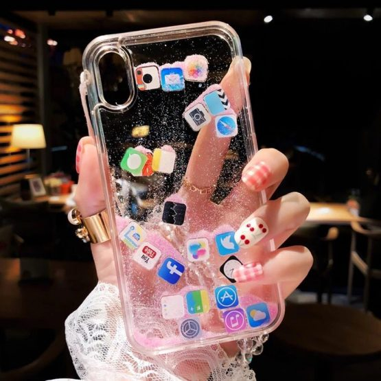 For iPhone 8 Dynamic liquid Glitter Tempered glass Clear Shell For iPhone X 7 6s Plus Case Quicksand Cover Cute APP icon Case