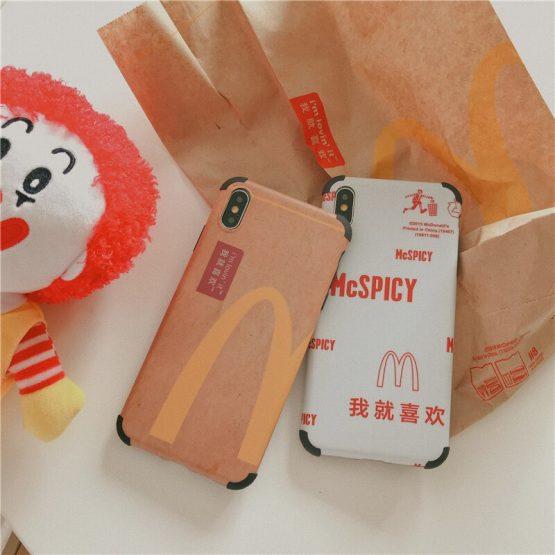 Funny Cartoon McDonald Clown Phone Case for iphone 11 Pro X XR XS Max 7 8 plus Cute McSPICY Kraft paper soft cover coque