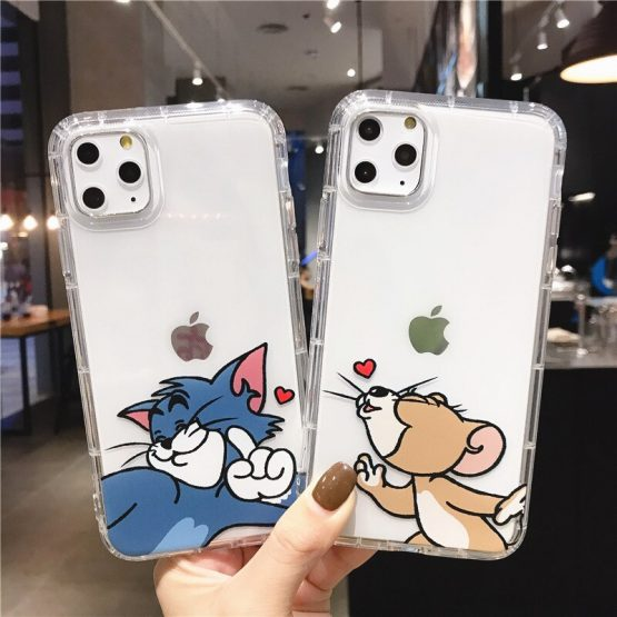 Phone Cases For iphone 11 Pro X S Max 7 8 6 Plus XR Case SE 2020 Cute Cartoon Love Heart Clear Shockproof Soft Couple Back Cover