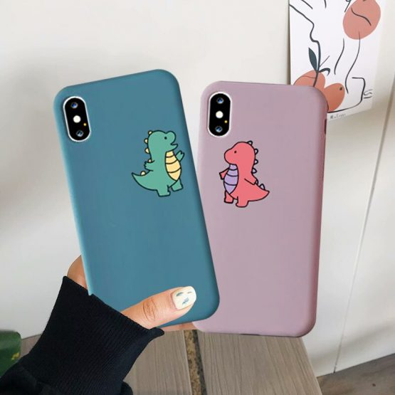 JAMULAR Cartoon Dinosaur Phone Case For iPhone 7 11 Pro X XS MAX XR 8 6 Plus Cute Couple Dragon Soft Back Cover Candy Color Capa