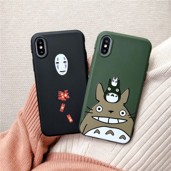 JAMULAR Cute Cartoon Happy Totoro Phone Case For iPhone 11 Pro XS MAX XR X 7 SE 2020 8 6 6s Plus Anime Soft Back Cover Coque Bag