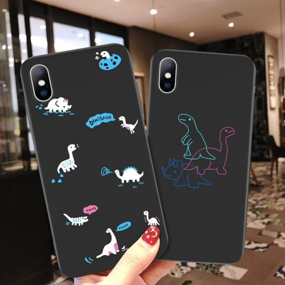 Lovebay Cartoon Dinosaur Phone Case For iPhone 11 Pro Max X XR XS MAX 6 6s 7 8 Plus Love Heart Soft TPU Cover For iPhone 5 5s SE