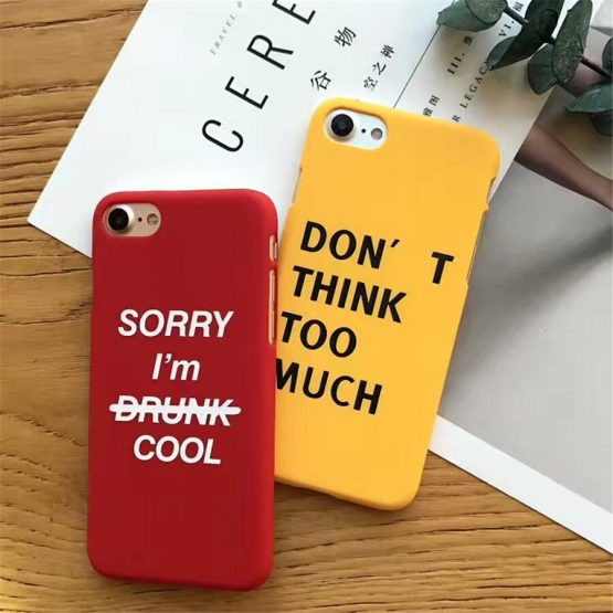 Lovely Cartoon Letter Phone Case For iphone X 6 6S 8 Plus Case Fashion Hard PC Frosted Back Cover For iphone 7 Cases Yellow Capa